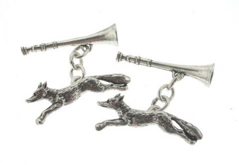 Sterling Silver Fox and Horn Cufflinks